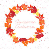 Autumn leaves round design vector frame Royalty Free Stock Image