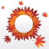 Autumn leaves round frame with falling leafs royalty free illustration