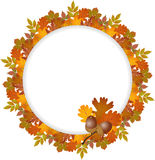 Autumn leaves round frame Royalty Free Stock Images