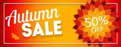 Autumn Leaves Sale Banner brilhante Cartão do disconto do negócio Ilustração do vetor Fotografia de Stock