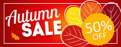 Autumn Leaves Sale Banner brillant Carte de remise d'affaires Illustration de vecteur Photos libres de droits