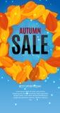 Autumn Leaves Sale Banner brillant Carte de remise d'affaires Illustration de vecteur Images stock