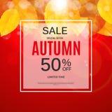 Autumn Leaves Sale Banner brillant Carte de remise d'affaires Illustration de vecteur Image stock