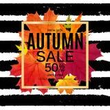 Autumn Leaves Sale Banner brillant Carte de remise d'affaires Illustration de vecteur illustration de vecteur