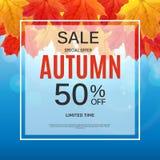 Autumn Leaves Sale Banner brillant Carte de remise d'affaires Illustration de vecteur Photographie stock
