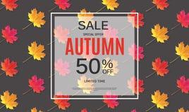 Autumn Leaves Sale Banner brillant Carte de remise d'affaires Illustration de vecteur Photos stock