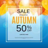 Autumn Leaves Sale Banner brillante Tarjeta del descuento del negocio Ilustración del vector Fotos de archivo