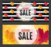 Autumn Leaves Sale Banner brillante Tarjeta del descuento del negocio Ilustración del vector Fotos de archivo libres de regalías
