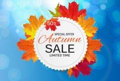Autumn Leaves Sale Banner brillante Tarjeta del descuento del negocio Ilustración del vector Foto de archivo libre de regalías