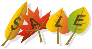 Autumn leaves sale illustration. The Word SALE made of colorful autumn leaves on white background illustration Royalty Free Stock Image