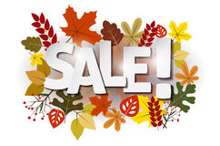 Autumn leaves and SALE inscription Royalty Free Stock Photos