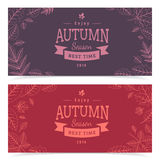 Autumn leaves and sale text. Royalty Free Stock Photo