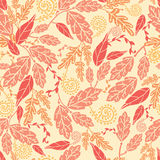 Autumn Leaves Seamless Pattern background. Vector Fall Leaves Seamless Pattern background with various hand drawn foliage in warm colors vector illustration