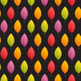 Autumn Leaves Seamless Pattern on Dark Background Royalty Free Stock Photo