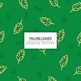Autumn Leaves Seamless Pattern di caduta nel fondo verde scuro Fotografie Stock Libere da Diritti