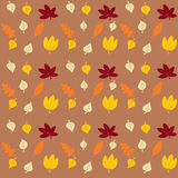 Autumn Leaves. Seamless pattern with different autumn leaves on brown background Stock Images
