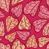 Autumn leaves seamless pattern, floral vector seamless backgroun. D, hand drawn Stock Image