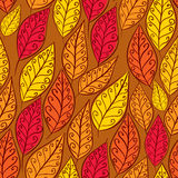 Autumn leaves seamless pattern, floral vector seamless backgroun. D, hand drawn Royalty Free Stock Images