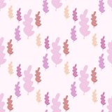 Autumn leaves seamless pattern in pastel colors. Leaf branch backdrop. Fall season wallpaper. Vector forest illustration on pink background. Simple flat style vector illustration