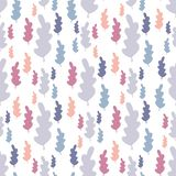 Autumn leaves seamless pattern in pastel colors. Leaf branch backdrop. Fall season wallpaper. Vector forest illustration on white background. Simple flat style royalty free illustration