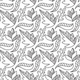 Autumn leaves seamless pattern. Repeating background in black and white color. Royalty Free Stock Photo