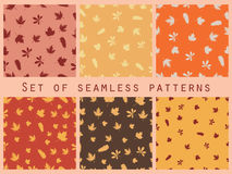 Autumn leaves seamless pattern set. Autumn colors. Vector illustration. Royalty Free Stock Photo