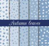 Autumn leaves seamless pattern set. For wallpaper, bed linen Royalty Free Stock Photo