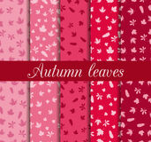 Autumn leaves seamless pattern set. For wallpaper, bed linen, tiles, fabrics, backgrounds. Royalty Free Stock Photo