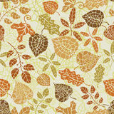 Autumn leaves seamless pattern. Silhouettes and outline Stock Photography