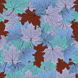 Autumn leaves, seamless pattern, vector background. Blue, purple, turquoise and brown maple . For the design of. Autumn leaves, seamless pattern, vector Royalty Free Stock Photo