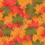 Autumn leaves, seamless pattern, vector background. Red, yellow and green maple leaves. For the design of wallpaper, wrapper, fabric design, decoration Royalty Free Stock Photo
