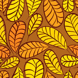 Autumn leaves seamless pattern, vector background Stock Photos