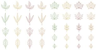 Autumn leaves set on white background, for any occasion royalty free illustration
