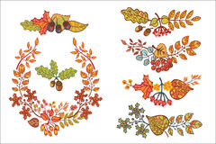 Autumn leaves set with berries,branches,acorn. Bright autumn leaves in composition. Vector illustration Royalty Free Stock Photography