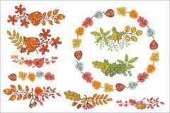 Autumn leaves set with berries,branches,acorn,. Bright autumn leaves in composition. Vector illustration Royalty Free Stock Photography