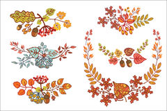 Autumn leaves set  with berries, leaf,branches, Royalty Free Stock Images