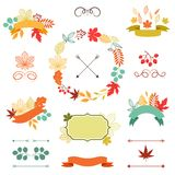 Autumn leaves set of wreath, ribbons and labels Royalty Free Stock Photo