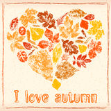 Autumn leaves in the shape of heart Royalty Free Stock Image