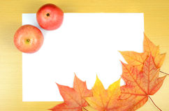 Autumn leaves and sheet of paper Royalty Free Stock Image
