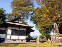 Autumn leaves in Shimomiya shrine inside Aso volcanic caldera. Part of Aso-Kuju National Park - Kumamoto prefecture, Japan royalty free stock photo