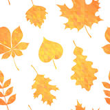 Autumn leaves silhouettes colorful seamless pattern Stock Photos