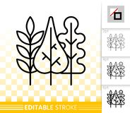 Autumn leaves simple black line vector icon royalty free illustration