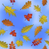 Autumn leaves on sky, seamless Royalty Free Stock Image