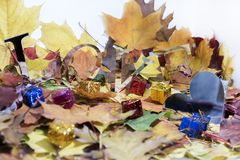 Autumn leaves with some decorative elements. Love abstraction. Autumn leaves with some decorative elements Stock Images