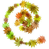 Autumn leaves in a spiral. raster Stock Photo