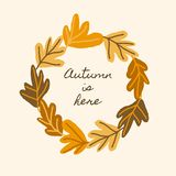 Autumn Leaves Square Card Template royalty-vrije illustratie