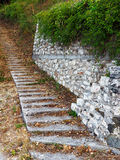 Autumn Leaves on Stepped Pathway Stock Photo