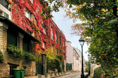 Autumn leaves on street, Montmartre, Paris, France Stock Photos