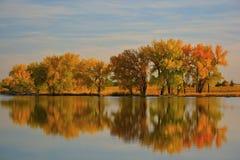 Autumn Leaves sur un lac se reflétant Photographie stock