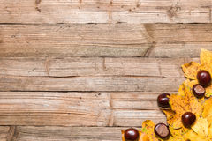 Autumn leaves on a table. Yellow leaves on a borwn wooden table in autumn Stock Photo